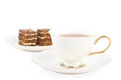 Cake with tea Royalty Free Stock Images