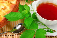 Cake and tea breakfast. Stock Photos