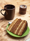 Cake with tea or coffee Royalty Free Stock Image