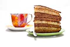Cake with tea or coffee Royalty Free Stock Images