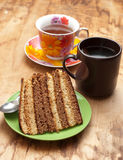 Cake with tea or coffee Stock Photography