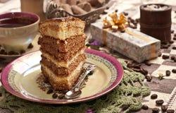 Cake with tea or coffee Stock Photos
