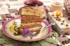 Cake with tea or coffee Royalty Free Stock Photo