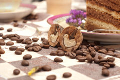 Cake with tea or coffee Royalty Free Stock Photos