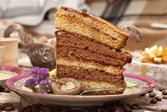 Cake with tea or coffee Royalty Free Stock Photography