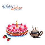 Cake and tea cup white background with space for text, watercolo Royalty Free Stock Photo