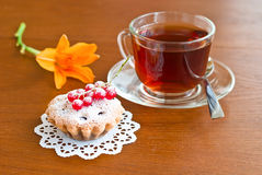 Cake, tea and flower Royalty Free Stock Photo