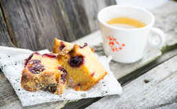 Cake and tea. Homemade cherry cake and cup of tea Royalty Free Stock Images