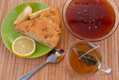 Cake, tea and honey Stock Photography