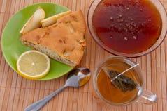 Cake, tea and honey stock photography