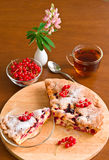Cake, tea, red currant and lupine Royalty Free Stock Image