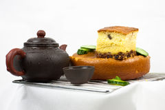 Cake,teapot and cucumbers Royalty Free Stock Image