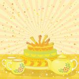 Cake, teapot and cups Royalty Free Stock Photos
