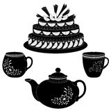Cake, teapot and cups, contours Royalty Free Stock Photo