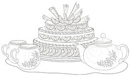 Cake, teapot and cups, contours Royalty Free Stock Photos