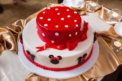 Cake. Teasty red and white cake birthday royalty free stock image