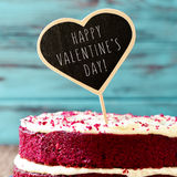 Cake with the text happy valentines day Royalty Free Stock Images