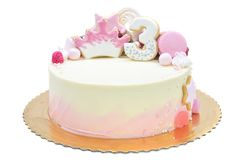 Cake for third birthday Royalty Free Stock Photo