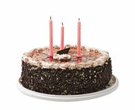 Cake and three candles Stock Photos
