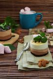 Cake in three colors with ice cream and chocolate royalty free stock photo