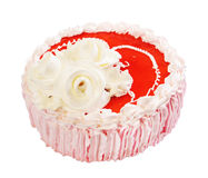 Cake with three roses and red jelly on white. Cake with three decorative roses and red jelly isolated over white background Stock Photography