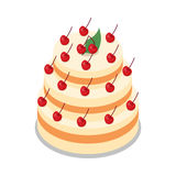 Cake in Three Tiers Decorated with Many Cherries. Big cake in three tiers on round plate isolated on white illustration. Light cake decorated with many red Royalty Free Stock Photos