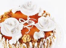 Cake with three white creamy roses Stock Photo