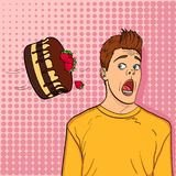 Pop art background, point. A festive chocolate cake with strawberries flies to the head of a guy, name-finding. Cake is thrown in man face pop art retro vector Royalty Free Stock Photography