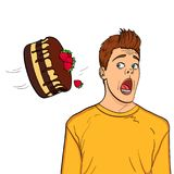 A festive chocolate cake with strawberries flies to the head of a guy, name-finding. Object on white background. Cake is thrown in man face vector illustration Stock Image
