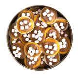 Cake tin full of homemade cup cakes with chocolate and marshmallows Royalty Free Stock Images