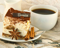Cake tiramisu and a cup of coffee Stock Photo
