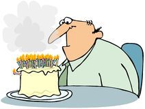 Cake With Too Many Candles. This illustration depicts a man sitting at a table looking at a birthday cake with a lot of lit candles Vector Illustration