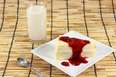 Cake topped with Strawberry jam Stock Photography