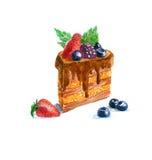 The cake triangular dessert cake watercolor