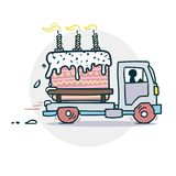 Cake truck delivery sticker. Vector illustration of a funny cartoon style Royalty Free Stock Image