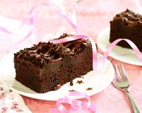 Cake truffle with black chocolate Stock Images