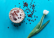 Cake, tulips and coffee on blue background Royalty Free Stock Photography
