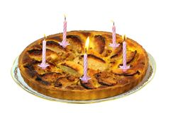 Cake two. An apple pie for birthday Stock Photo
