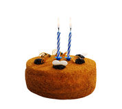 Cake with two candles. royalty free stock photos