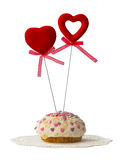 Cake with two hearts Royalty Free Stock Images