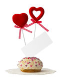Cake with two hearts and card Stock Images