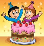 Cake and two kids celebrating image 2. Eps10 vector illustration Stock Photos
