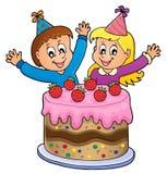 Cake and two kids celebrating image 1 Stock Photo
