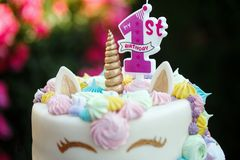 Cake with a unicorn for 1 birthday, a children`s holiday in nature royalty free stock photography