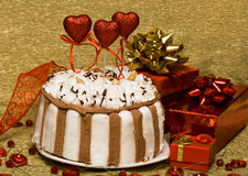 Cake with valentine hearts. Cake with red valentine hearts royalty free stock photos
