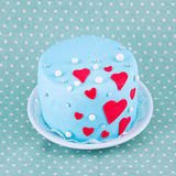 Cake for valentine's day. Blue cake for valentine's day with hearts Stock Photo
