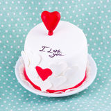 Cake for valentine's day. On blue doted background Stock Photography