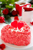 Cake for Valentine's Day with roses. Royalty Free Stock Image