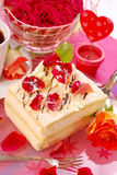 Cake for valentine`s party. Almond cake with rose petals decoration for valentine`s party stock image