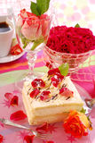 Cake for valentine`s party. Almond cake with rose petals decoration for valentine`s party stock photos